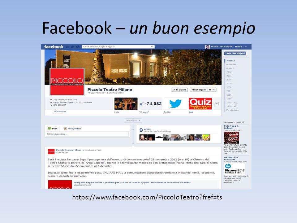Facebook – un buon esempio https://www.facebook.com/PiccoloTeatro?fref=ts