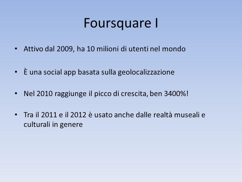 Foursquare I Attivo dal 2009, ha 10 milioni di utenti nel mondo È una social app basata sulla geolocalizzazione Nel 2010 raggiunge il picco di crescita, ben 3400%.