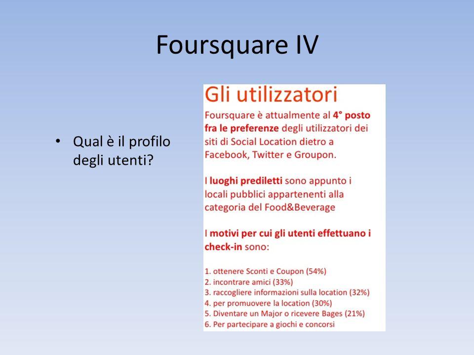 Foursquare IV Qual è il profilo degli utenti?