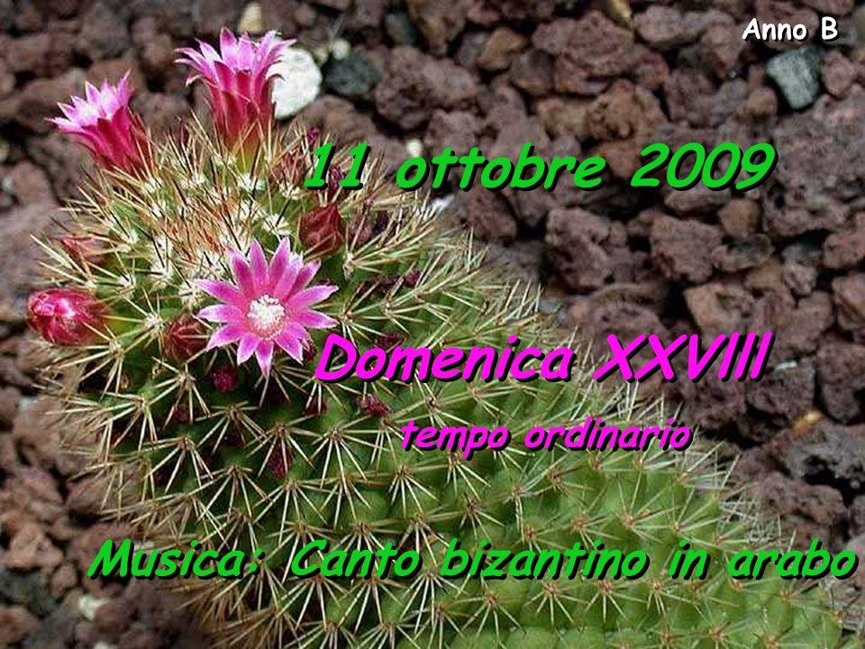 Anno B 11 ottobre 2009 Domenica XXVlll tempo ordinario Domenica XXVlll tempo ordinario Musica: Canto bizantino in arabo