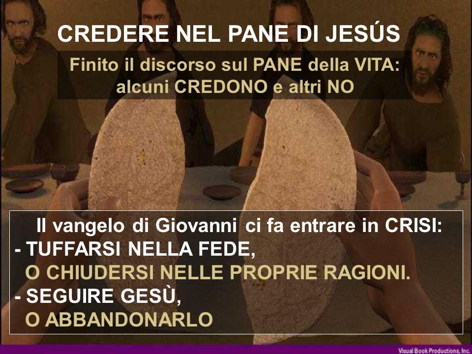 CREDERE NEL PANE DI JESÚS Il vangelo di Giovanni ci fa entrare in CRISI: - TUFFARSI NELLA FEDE, O CHIUDERSI NELLE PROPRIE RAGIONI.