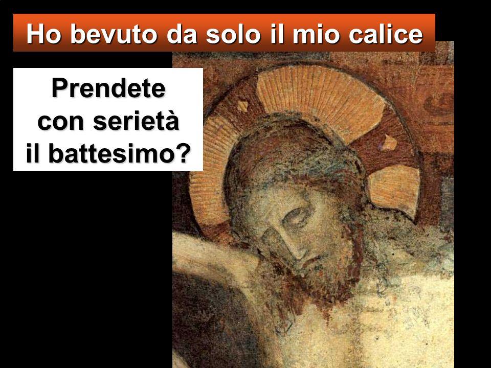 Gesù disse loro: «Voi non sapete quello che chiedete. Potete bere il calice che io bevo, o essere battezzati nel battesimo in cui io sono battezzato?»