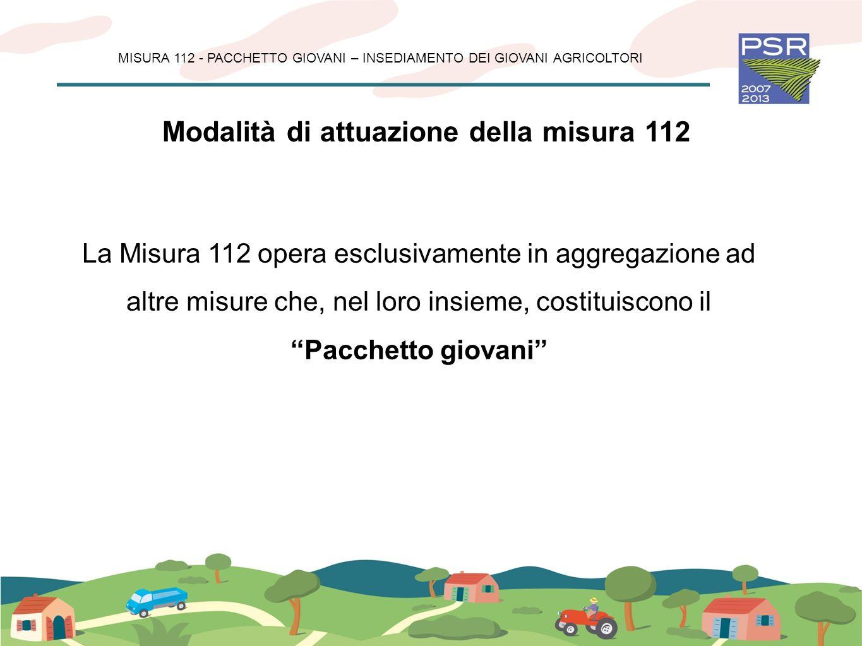 Obiettivo della misura 112 Ringiovanimento dellimprenditoria agricola Ricambio generazionale Mantenimento della presenza antropica Protezione del territorio da dissesti idrogeologici MISURA 112 - PACCHETTO GIOVANI – INSEDIAMENTO DEI GIOVANI AGRICOLTORI