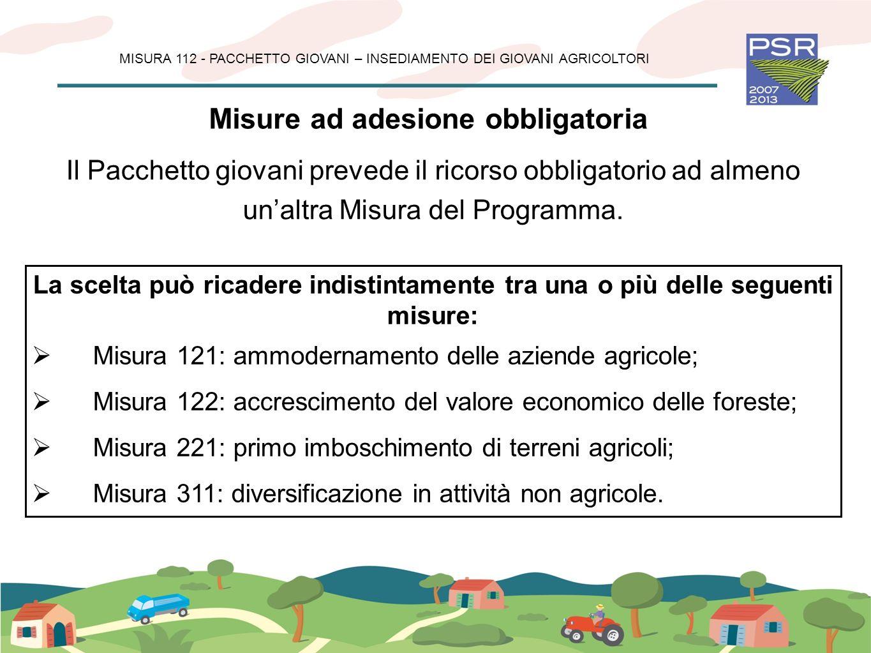 Misure ad adesione volontaria MISURA 112 - PACCHETTO GIOVANI – INSEDIAMENTO DEI GIOVANI AGRICOLTORI Utilizzo dei servizi di consulenza in agricoltura e silvicoltura (114) Partecipazione degli agricoltori ai sistemi di qualità alimentare (132) È prevista, la possibilità di attivare nel Pacchetto, le seguenti Misure a carattere volontario: