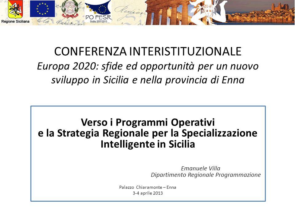 CONFERENZA INTERISTITUZIONALE Europa 2020: sfide ed opportunità per un nuovo sviluppo in Sicilia e nella provincia di Enna Verso i Programmi Operativi