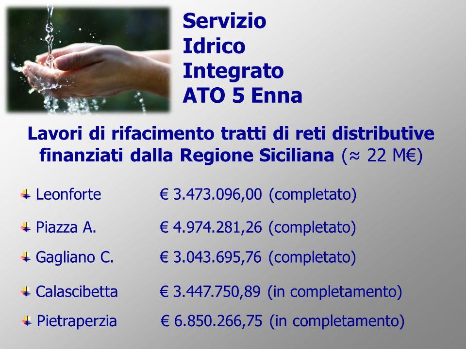 Leonforte 3.473.096,00 (completato) Piazza A. 4.974.281,26 (completato) Calascibetta 3.447.750,89 (in completamento) Gagliano C. 3.043.695,76 (complet