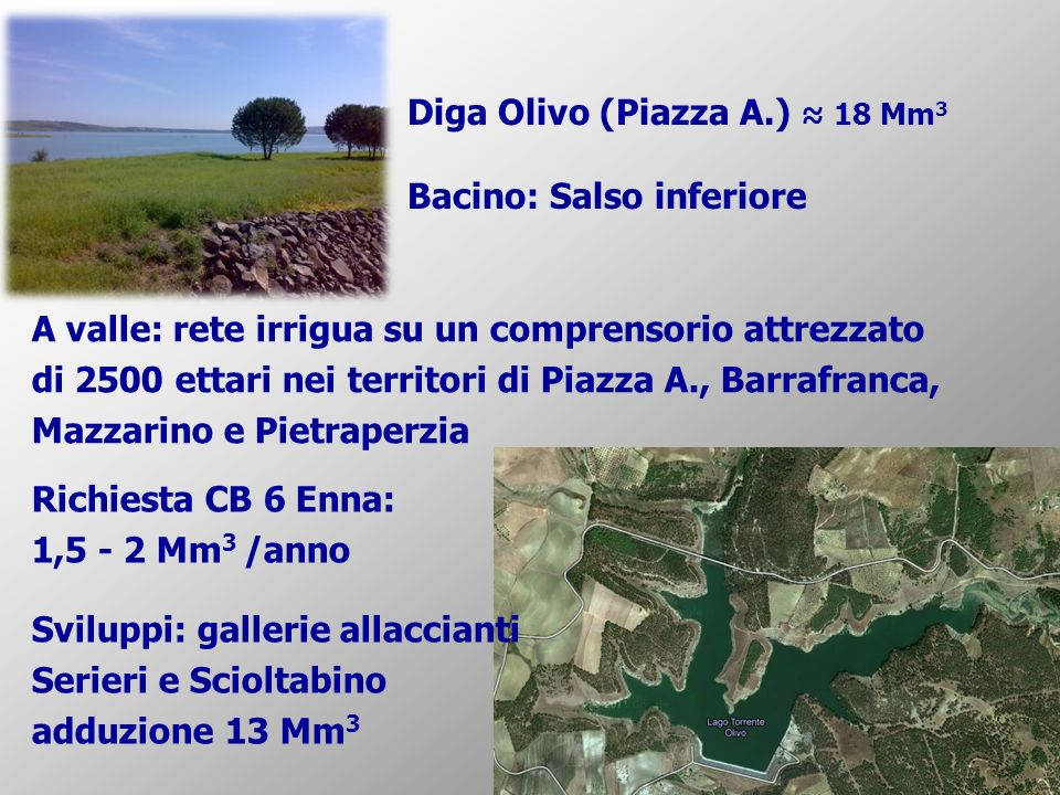 Diga Olivo (Piazza A.) 18 Mm 3 Bacino: Salso inferiore A valle: rete irrigua su un comprensorio attrezzato di 2500 ettari nei territori di Piazza A.,