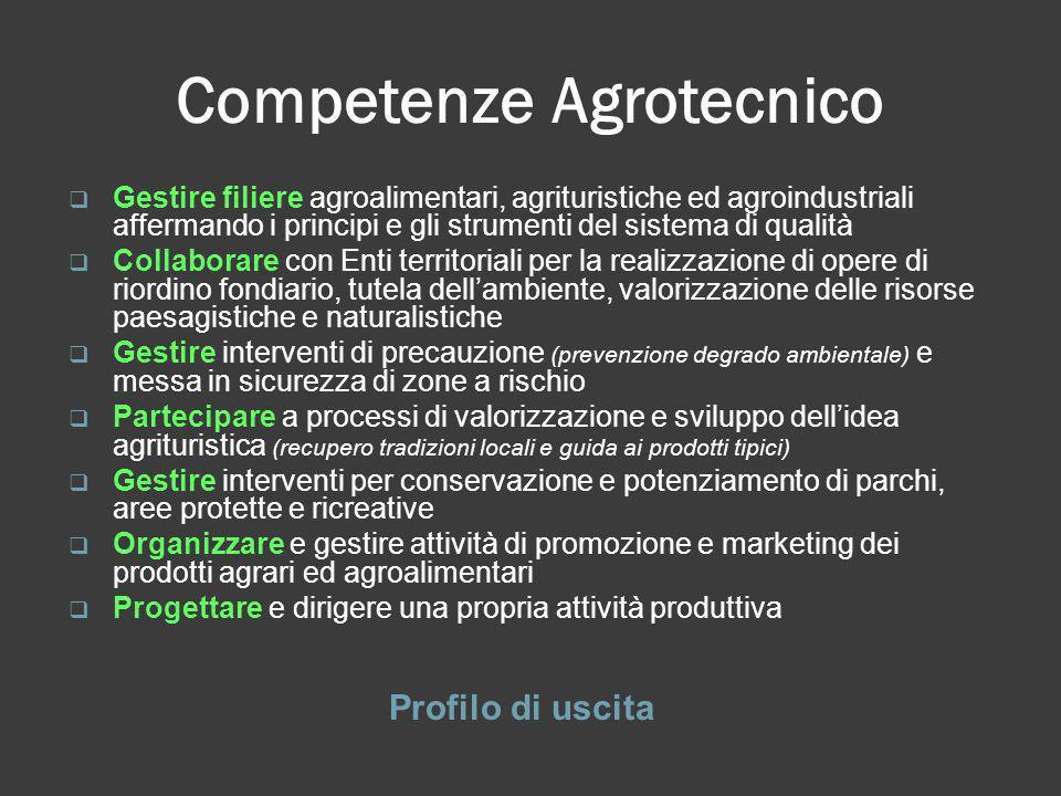 Competenze Agrotecnico Profilo di uscita Gestire filiere agroalimentari, agrituristiche ed agroindustriali affermando i principi e gli strumenti del s