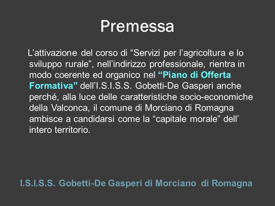 Premessa I.S.I.S.S. Gobetti-De Gasperi di Morciano di Romagna Lattivazione del corso di Servizi per lagricoltura e lo sviluppo rurale, nellindirizzo p