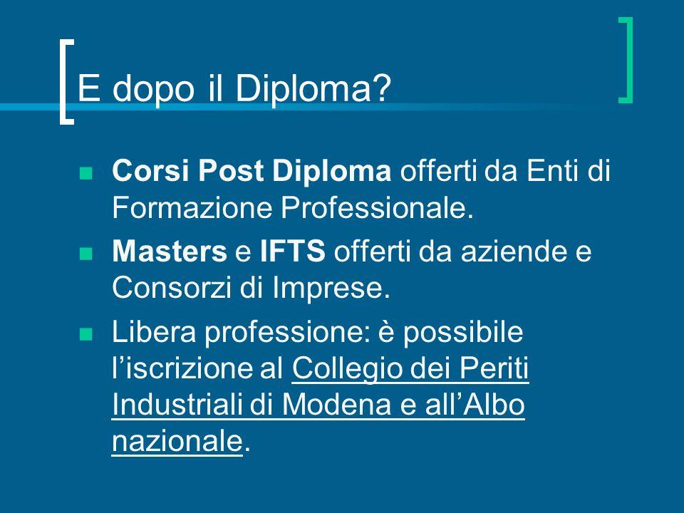 E dopo il Diploma? Corsi Post Diploma offerti da Enti di Formazione Professionale. Masters e IFTS offerti da aziende e Consorzi di Imprese. Libera pro
