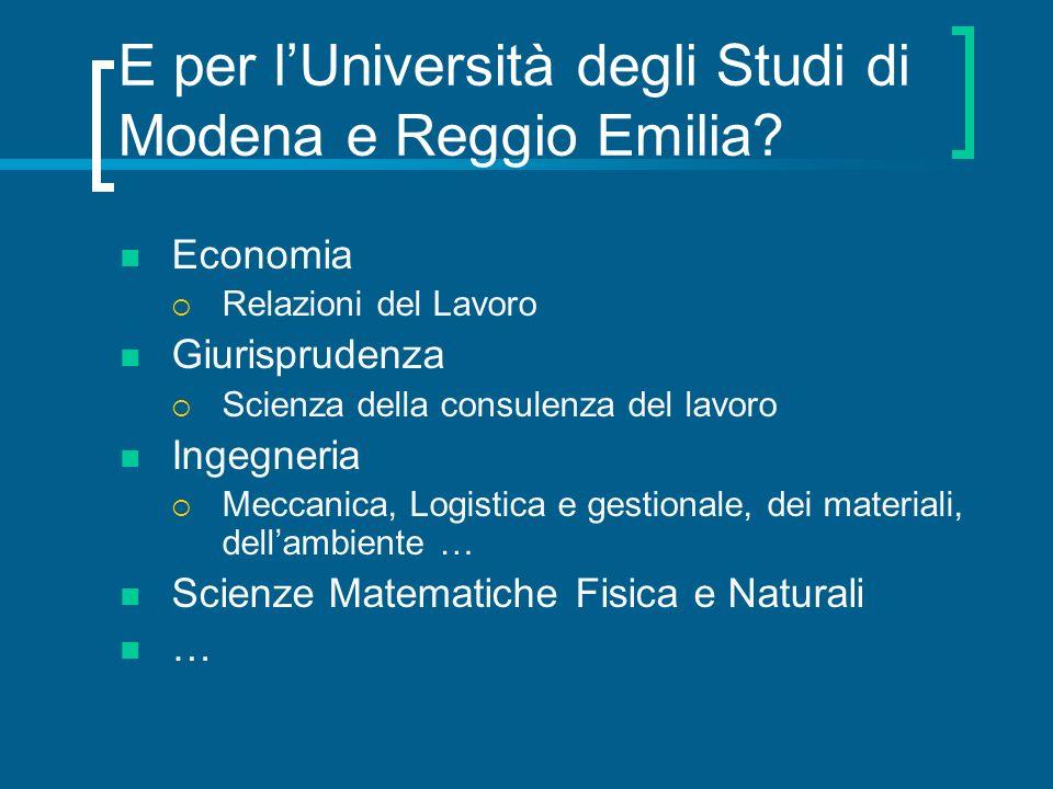 E per lUniversità degli Studi di Modena e Reggio Emilia? Economia Relazioni del Lavoro Giurisprudenza Scienza della consulenza del lavoro Ingegneria M