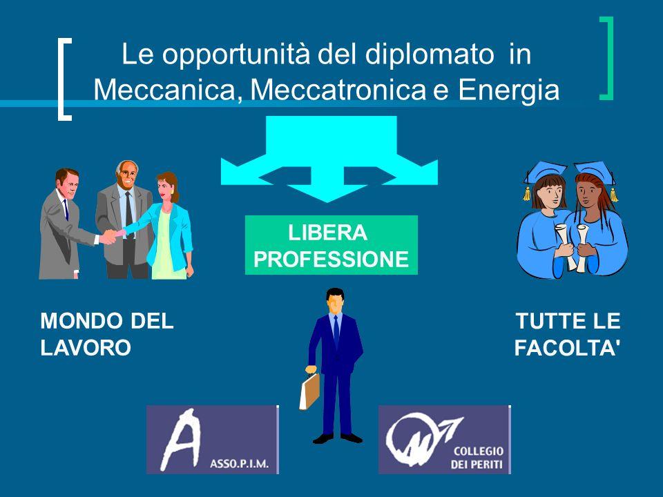 Le opportunità del diplomato in Meccanica, Meccatronica e Energia MONDO DEL LAVORO LIBERA PROFESSIONE TUTTE LE FACOLTA'