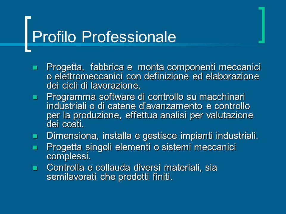 Profilo Professionale Progetta, fabbrica e monta componenti meccanici o elettromeccanici con definizione ed elaborazione dei cicli di lavorazione. Pro