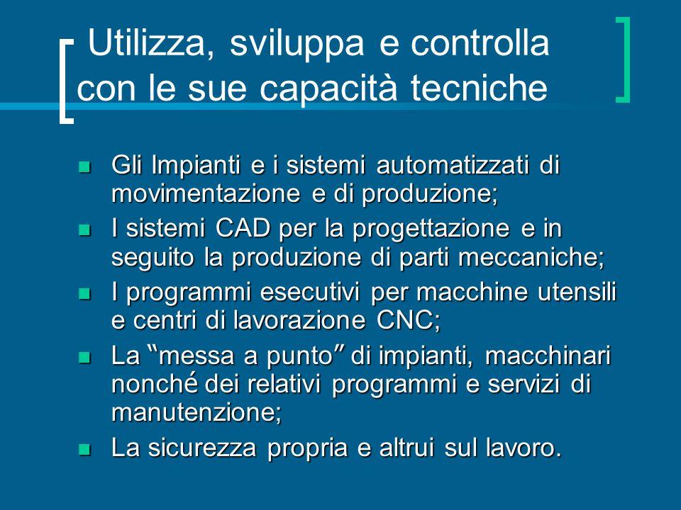 Utilizza, sviluppa e controlla con le sue capacità tecniche Gli Impianti e i sistemi automatizzati di movimentazione e di produzione; Gli Impianti e i