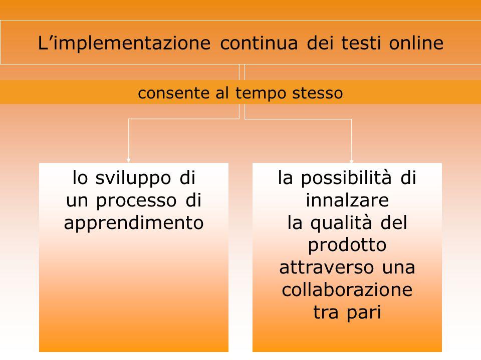 Limplementazione continua dei testi online lo sviluppo di un processo di apprendimento la possibilità di innalzare la qualità del prodotto attraverso una collaborazione tra pari consente al tempo stesso