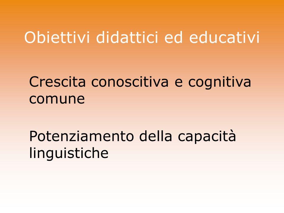 Obiettivi didattici ed educativi Crescita conoscitiva e cognitiva comune Potenziamento della capacità linguistiche