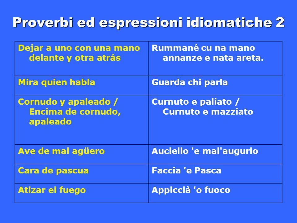 Proverbi ed espressioni idiomatiche 2 Dejar a uno con una mano delante y otra atrás Rummané cu na mano annanze e nata areta.