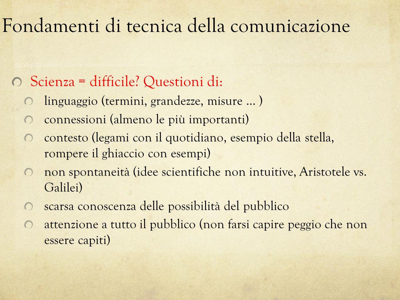 Fondamenti di tecnica della comunicazione Scienza = difficile? Questioni di: linguaggio (termini, grandezze, misure … ) connessioni (almeno le più imp