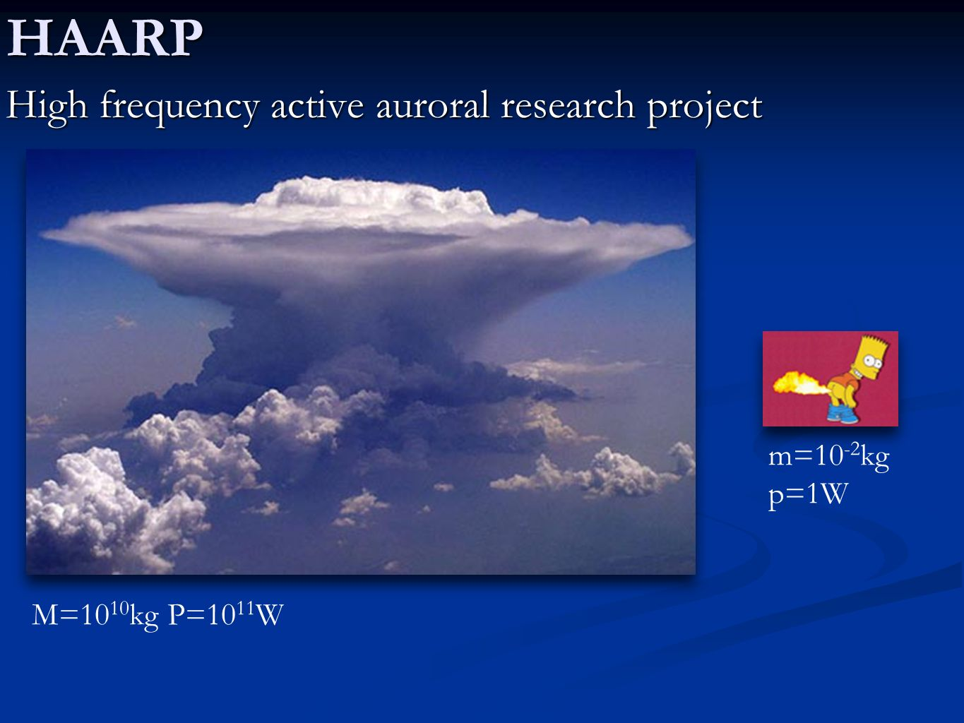 HAARP High frequency active auroral research project M=10 10 kg P=10 11 W m=10 -2 kg p=1W