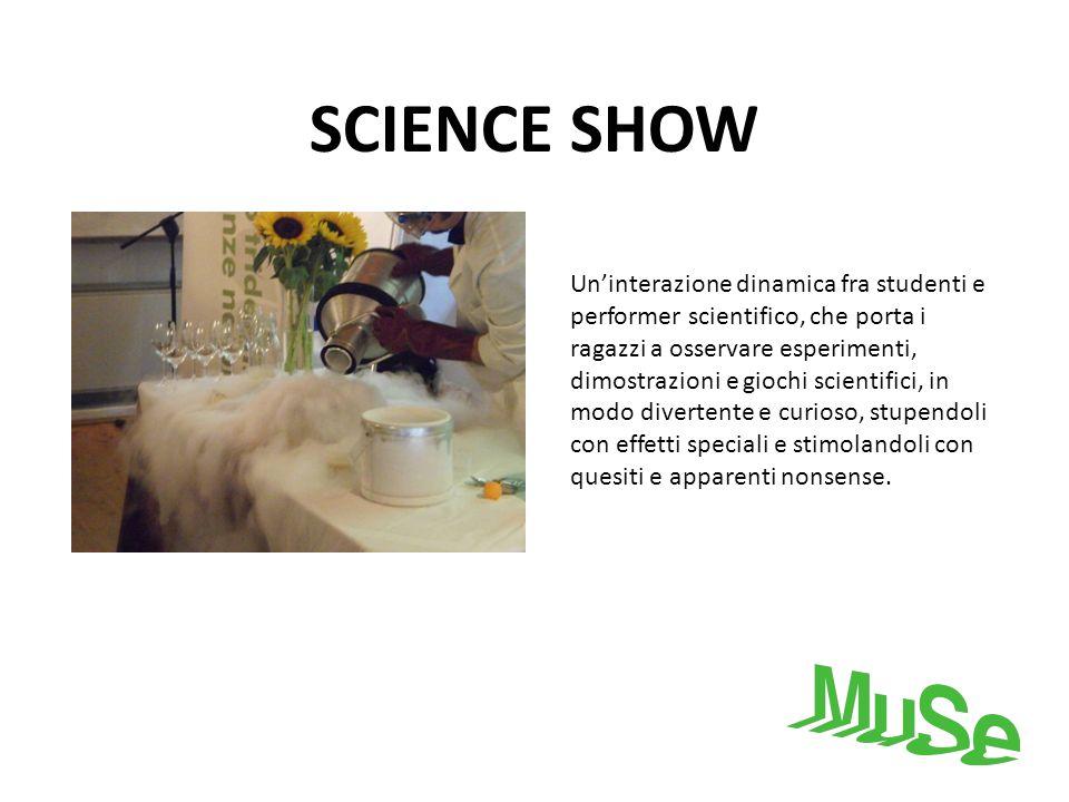 SCIENCE SHOW Uninterazione dinamica fra studenti e performer scientifico, che porta i ragazzi a osservare esperimenti, dimostrazioni e giochi scientif