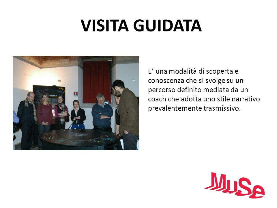 VISITA GUIDATA E una modalità di scoperta e conoscenza che si svolge su un percorso definito mediata da un coach che adotta uno stile narrativo preval