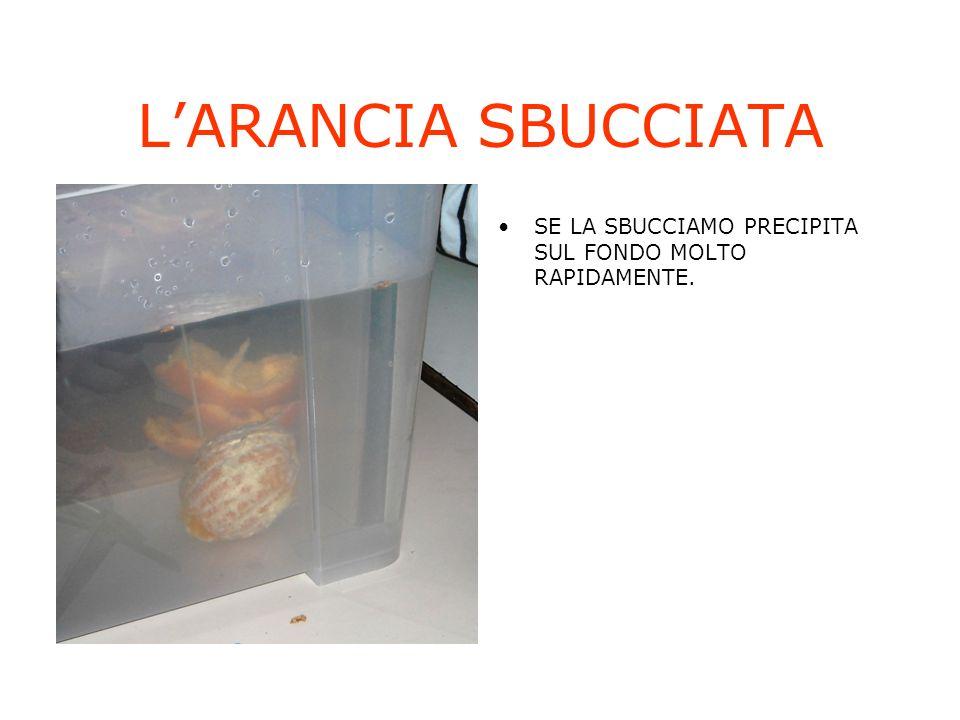LARANCIA SBUCCIATA SE LA SBUCCIAMO PRECIPITA SUL FONDO MOLTO RAPIDAMENTE.