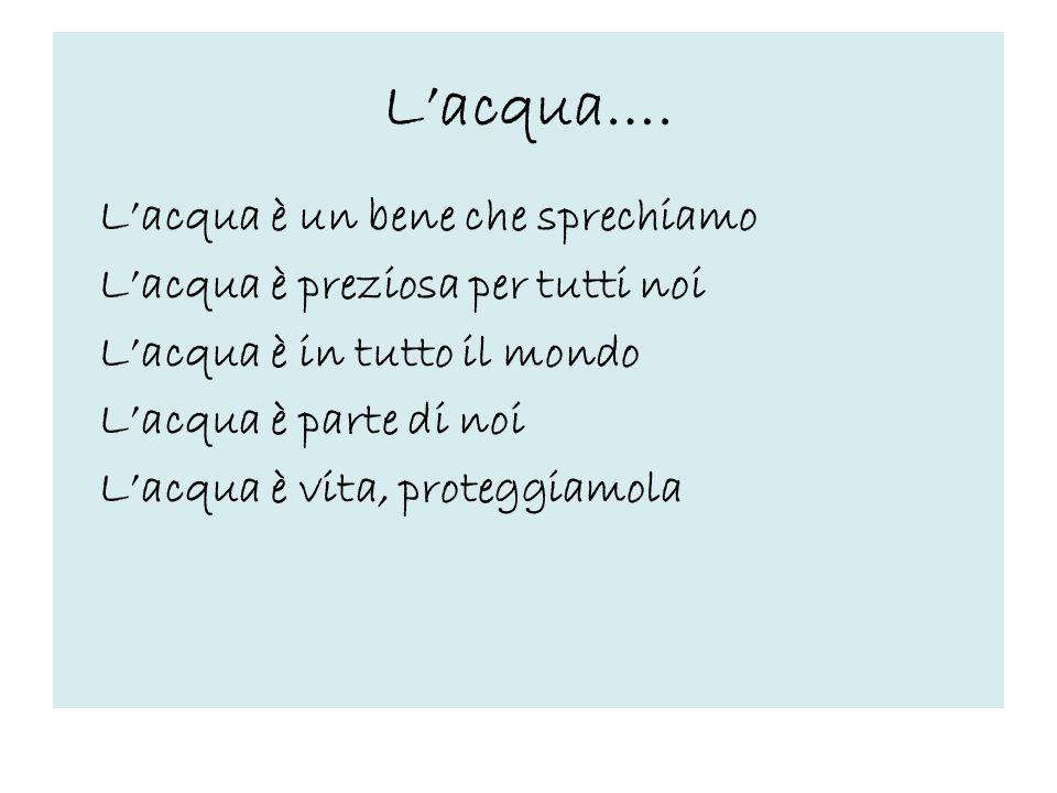 Lacqua…. Lacqua è un bene che sprechiamo Lacqua è preziosa per tutti noi Lacqua è in tutto il mondo Lacqua è parte di noi Lacqua è vita, proteggiamola
