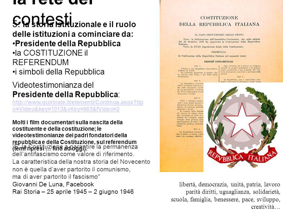 la rete dei contesti 5: la storia istituzionale e il ruolo delle istituzioni a cominciare da: Presidente della Repubblica la COSTITUZIONE il REFERENDUM i simboli della Repubblica Videotestimonianza del Presidente della Repubblica: http://www.quirinale.it/elementi/Continua.aspx?tip o=Video&key=1013&vKey=865&fVideo=2 Molti i film documentari sulla nascita della costituente e della costituzione; le videotestimonianze dei padri fondatori della repubblica e della Costituzione, sul referendum (temi ripresi … fino ad oggi).