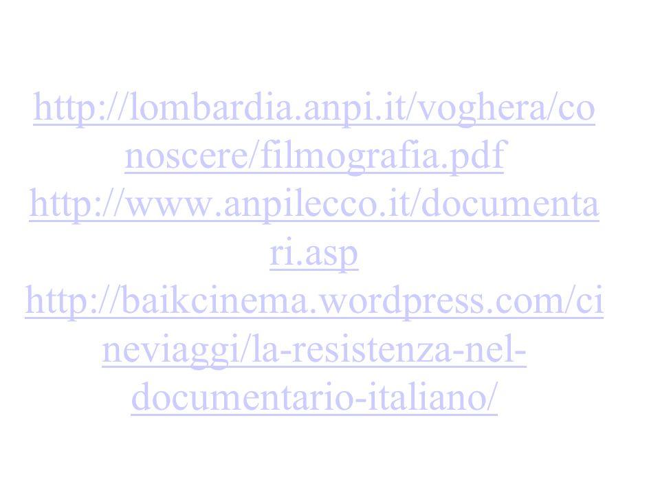 http://lombardia.anpi.it/voghera/co noscere/filmografia.pdf http://www.anpilecco.it/documenta ri.asp http://baikcinema.wordpress.com/ci neviaggi/la-re