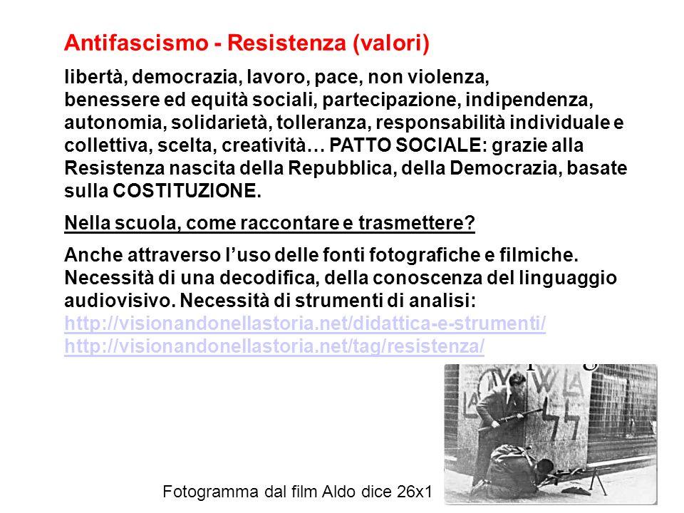 Antifascismo - Resistenza (valori) libertà, democrazia, lavoro, pace, non violenza, benessere ed equità sociali, partecipazione, indipendenza, autonom