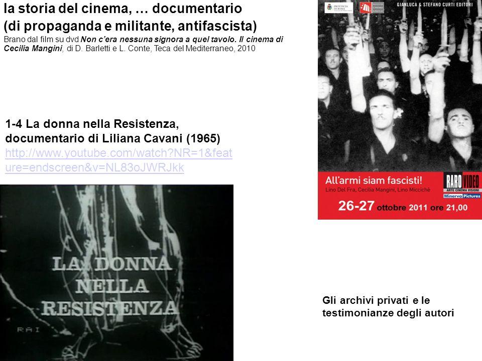 la storia del cinema, … documentario (di propaganda e militante, antifascista) Brano dal film su dvd Non cera nessuna signora a quel tavolo. Il cinema