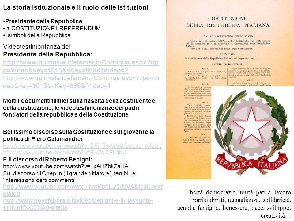 La storia istituzionale e il ruolo delle istituzioni Presidente della Repubblica la COSTITUZIONE il REFERENDUM i simboli della Repubblica Videotestimo