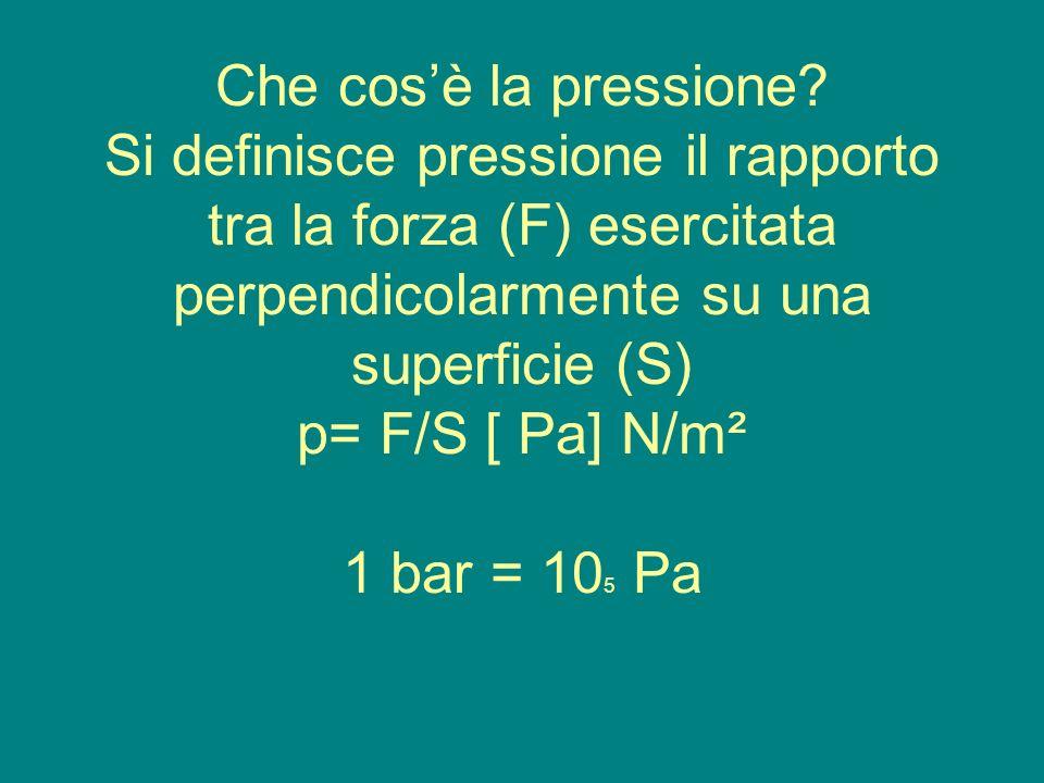 Che cosè la pressione? Si definisce pressione il rapporto tra la forza (F) esercitata perpendicolarmente su una superficie (S) p= F/S [ Pa] N/m² 1 bar