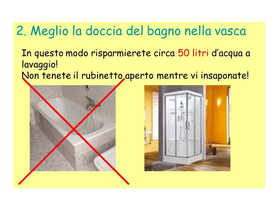 1. Non aprite i rubinetti al massimo Aprendo i rubinetti al massimo lacqua viene solo sprecata!