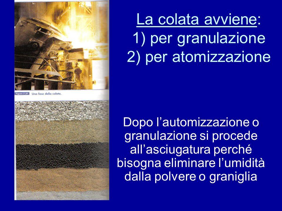 La colata avviene: 1) per granulazione 2) per atomizzazione Dopo lautomizzazione o granulazione si procede allasciugatura perché bisogna eliminare lumidità dalla polvere o graniglia