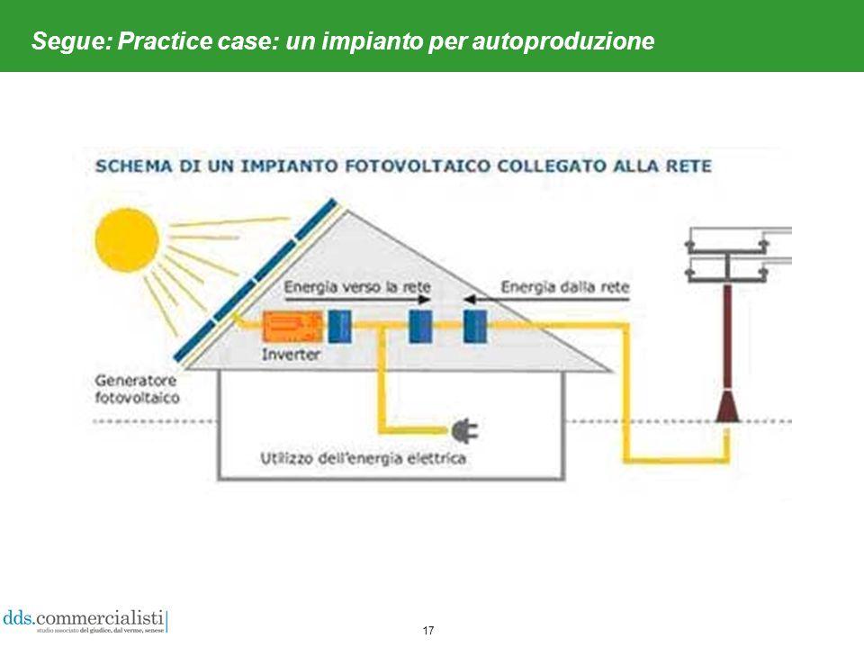 17 Segue: Practice case: un impianto per autoproduzione