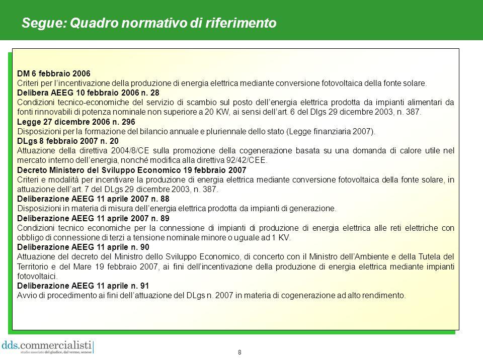 8 Segue: Quadro normativo di riferimento DM 6 febbraio 2006 Criteri per lincentivazione della produzione di energia elettrica mediante conversione fotovoltaica della fonte solare.