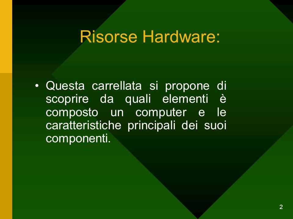 2 Risorse Hardware: Questa carrellata si propone di scoprire da quali elementi è composto un computer e le caratteristiche principali dei suoi compone