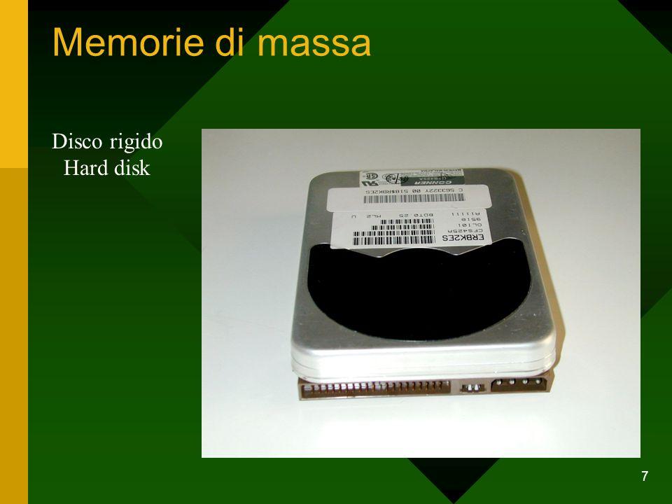 7 Memorie di massa Disco rigido Hard disk