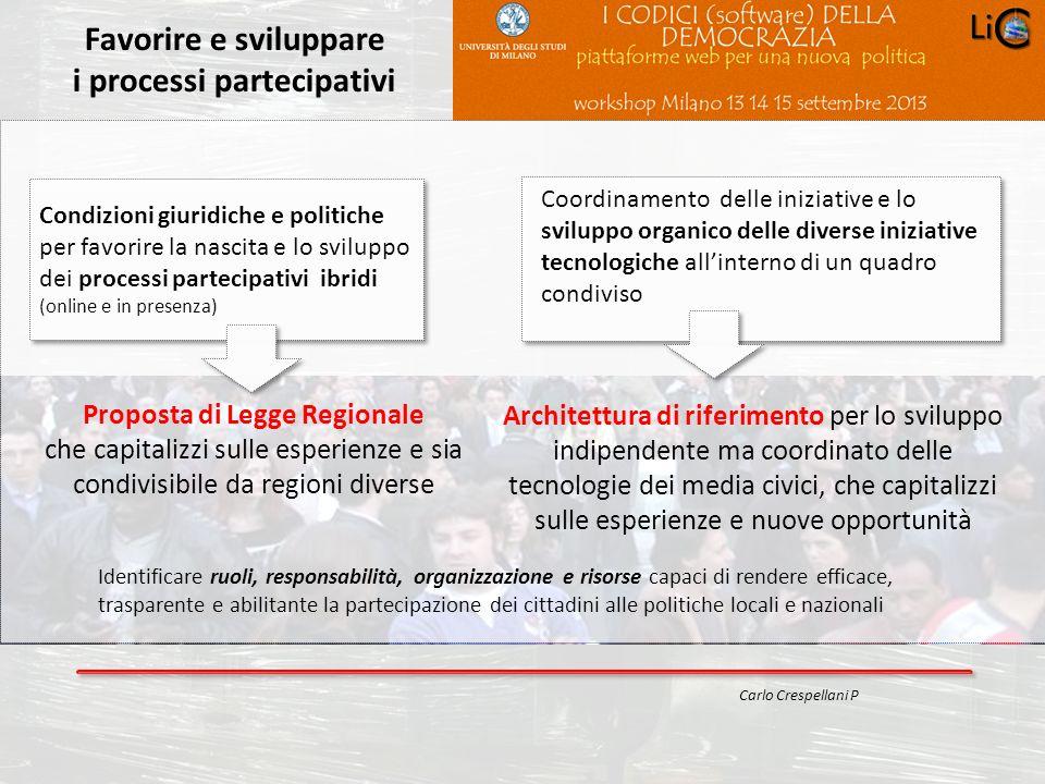 Progetto POR 2000-2006 : Progettazione ambientale Favorire e sviluppare i processi partecipativi Carlo Crespellani P Condizioni giuridiche e politiche