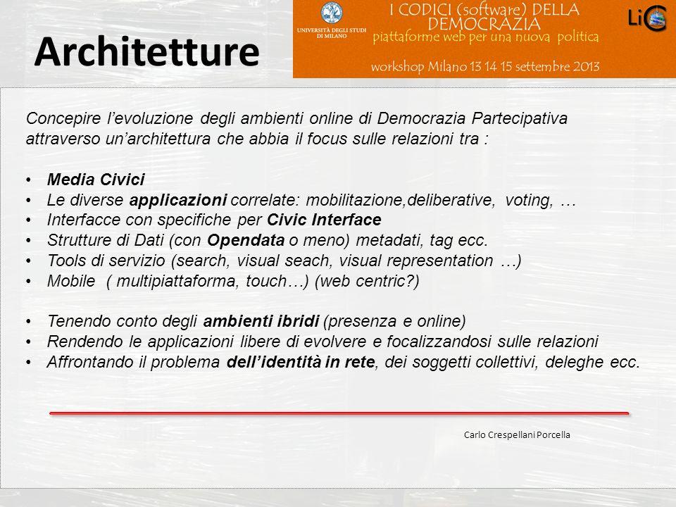 Carlo Crespellani Porcella Progetto POR 2000-2006 : Progettazione ambientale Concepire levoluzione degli ambienti online di Democrazia Partecipativa a