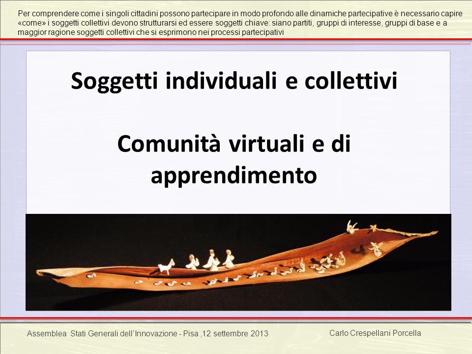 Carlo Crespellani Porcella Progetto POR 2000-2006 : Progettazione ambientale Soggetti individuali e collettivi Comunità virtuali e di apprendimento Ca