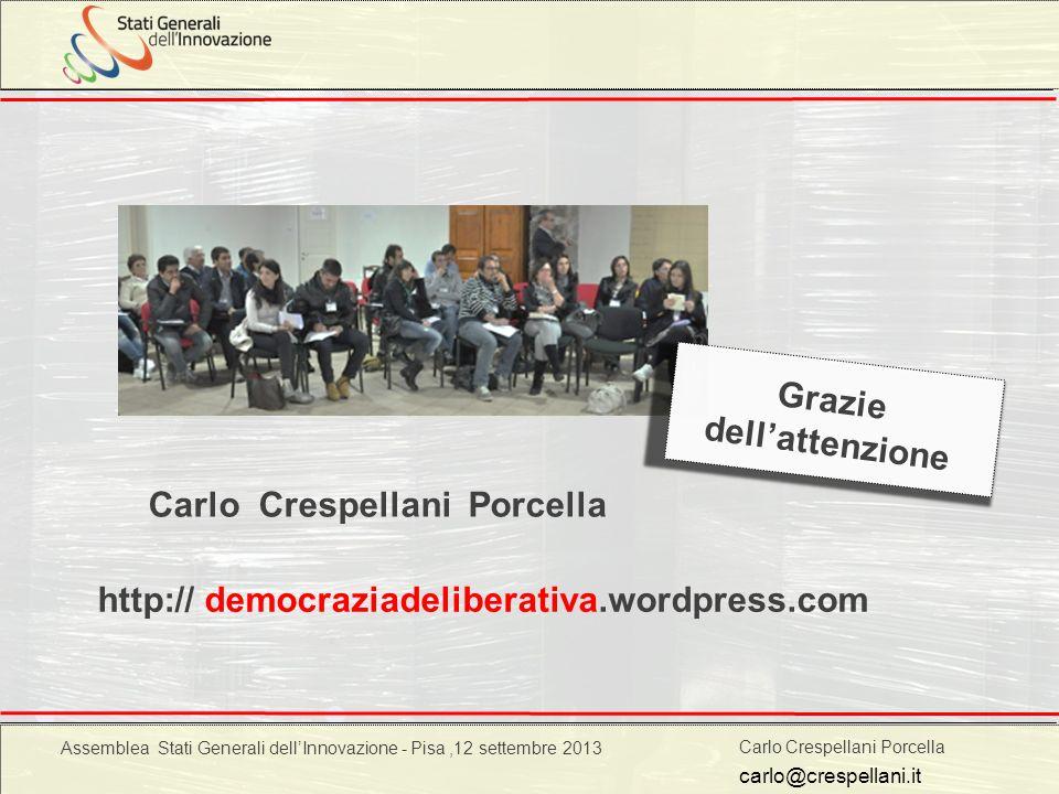Carlo Crespellani Porcella Progetto POR 2000-2006 : Progettazione ambientale http:// democraziadeliberativa.wordpress.com carlo@crespellani.it Carlo C