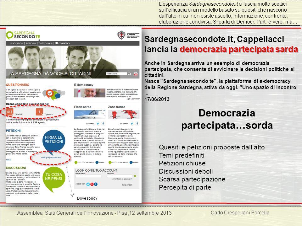Carlo Crespellani Porcella Progetto POR 2000-2006 : Progettazione ambientale democrazia partecipata sarda Sardegnasecondote.it, Cappellacci lancia la