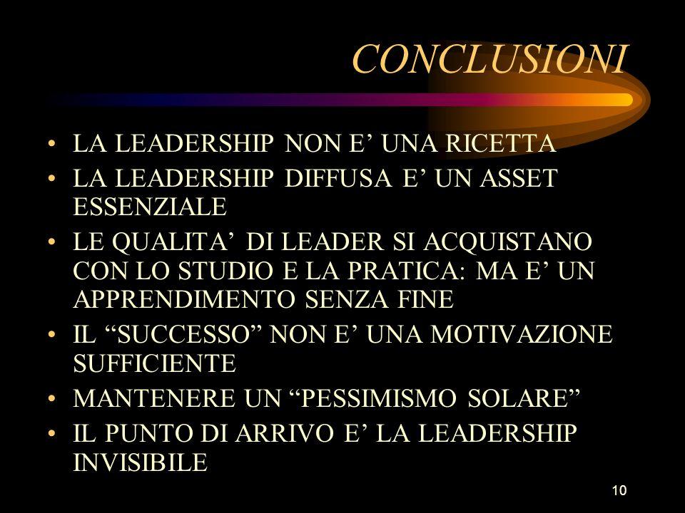 10 CONCLUSIONI LA LEADERSHIP NON E UNA RICETTA LA LEADERSHIP DIFFUSA E UN ASSET ESSENZIALE LE QUALITA DI LEADER SI ACQUISTANO CON LO STUDIO E LA PRATICA: MA E UN APPRENDIMENTO SENZA FINE IL SUCCESSO NON E UNA MOTIVAZIONE SUFFICIENTE MANTENERE UN PESSIMISMO SOLARE IL PUNTO DI ARRIVO E LA LEADERSHIP INVISIBILE