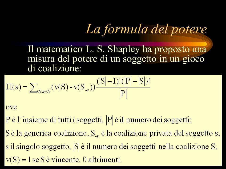 La formula del potere Il matematico L. S. Shapley ha proposto una misura del potere di un soggetto in un gioco di coalizione: