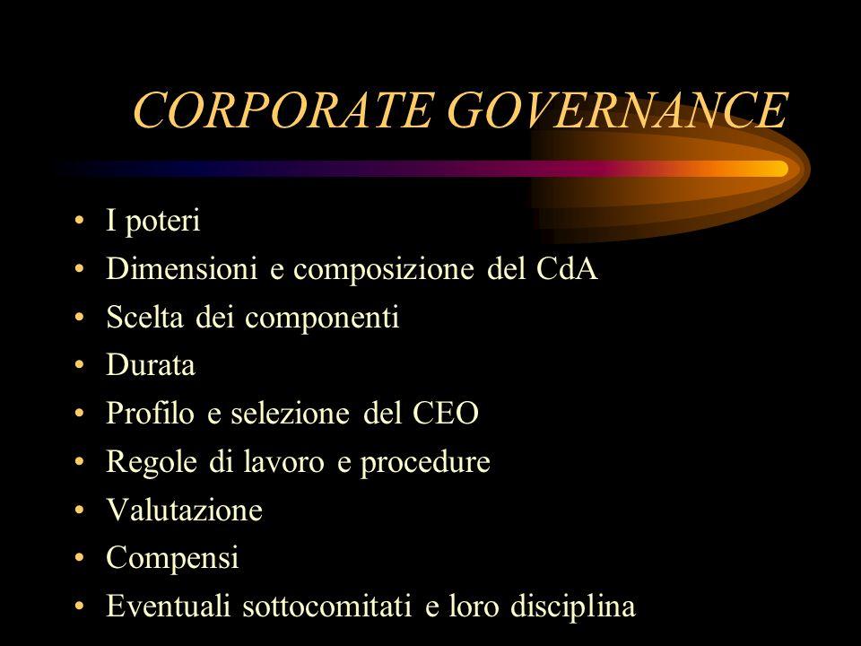 CORPORATE GOVERNANCE I poteri Dimensioni e composizione del CdA Scelta dei componenti Durata Profilo e selezione del CEO Regole di lavoro e procedure
