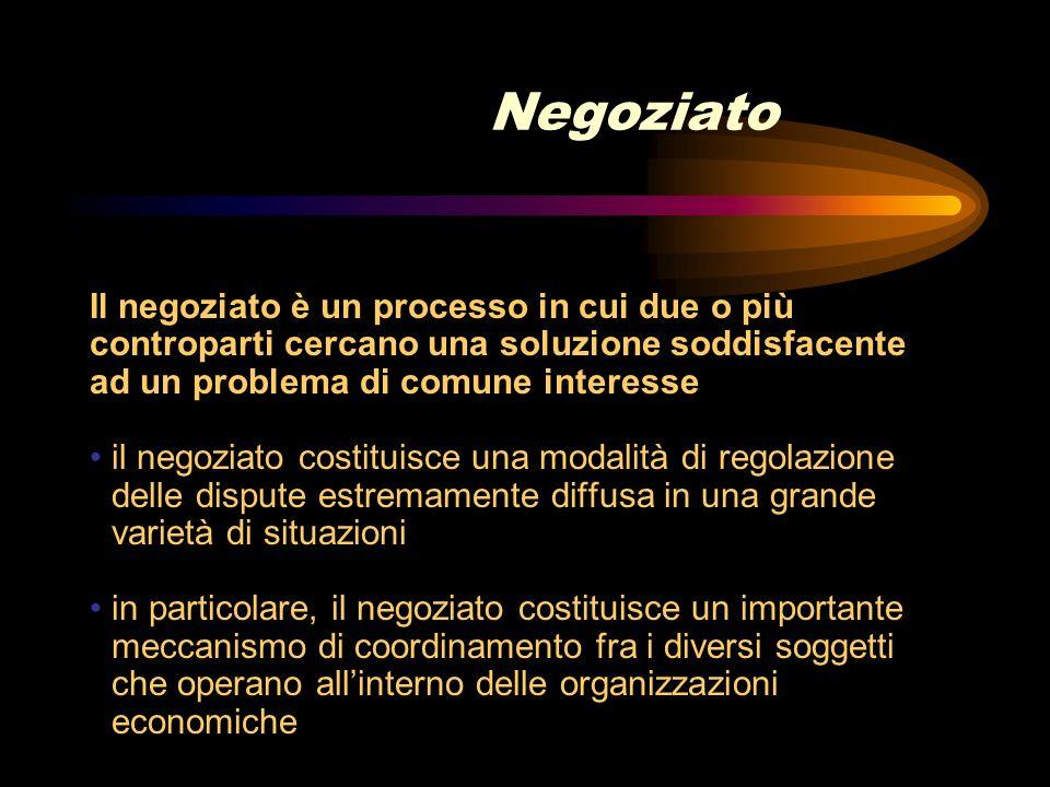 Negoziato Il negoziato è un processo in cui due o più controparti cercano una soluzione soddisfacente ad un problema di comune interesse il negoziato