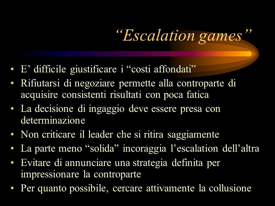 Escalation games E difficile giustificare i costi affondati Rifiutarsi di negoziare permette alla controparte di acquisire consistenti risultati con p