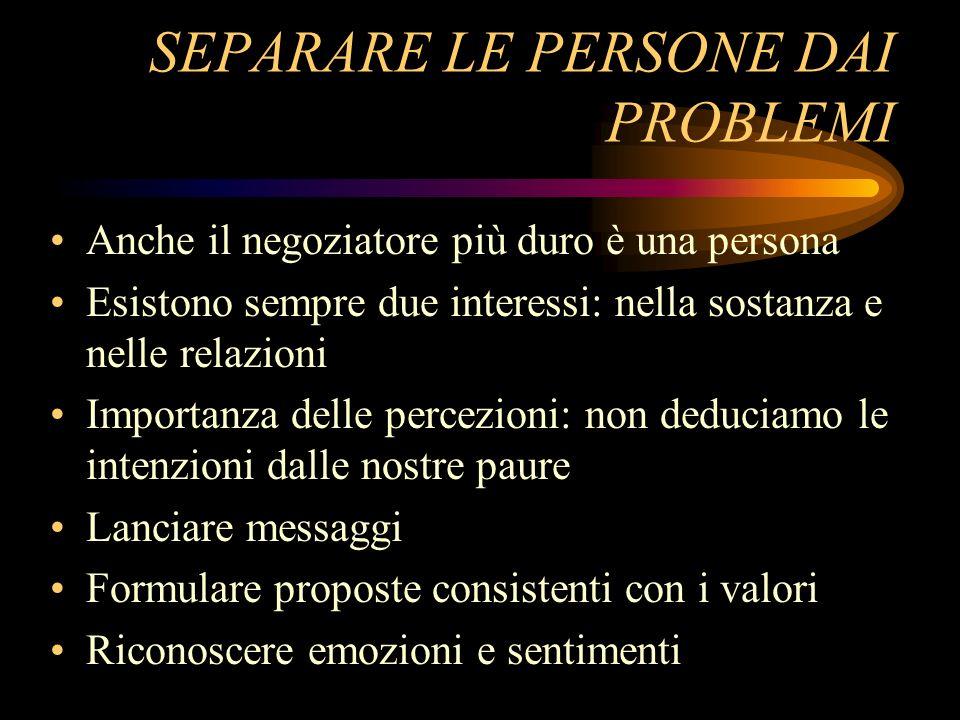 SEPARARE LE PERSONE DAI PROBLEMI Anche il negoziatore più duro è una persona Esistono sempre due interessi: nella sostanza e nelle relazioni Importanz